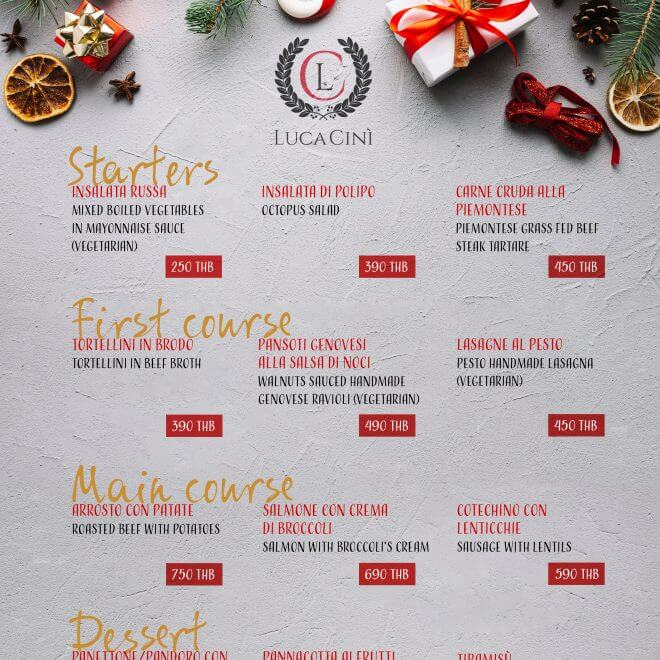Festives Menu 2018 - White